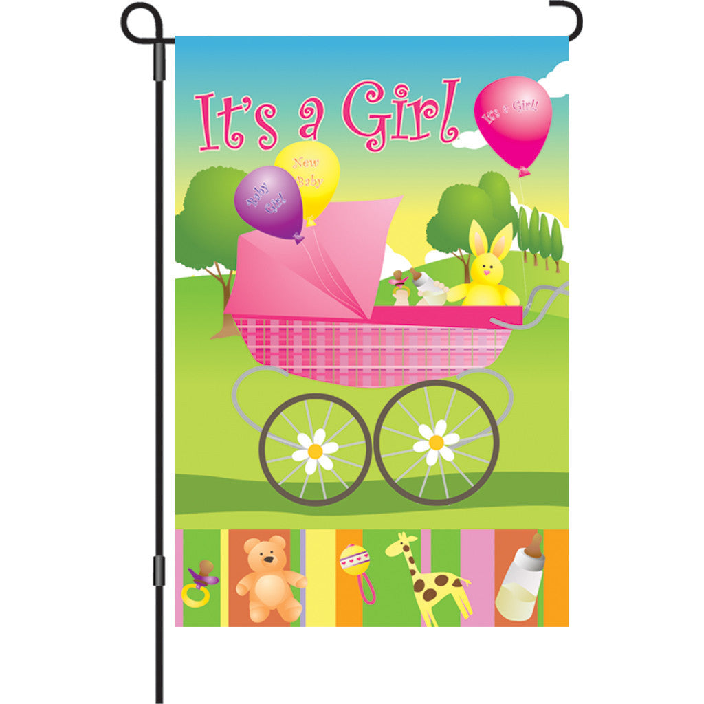 12 in. Congratulations Garden Flag - Rock-A-Bye Baby Girl