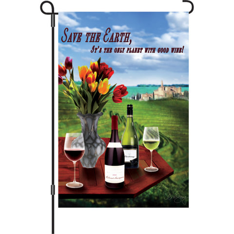 12 in. Wine Garden Flag - Save The Earth