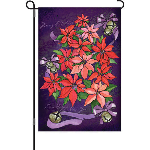 12 in. Christmas Garden Flag - Poinsettia Topiary