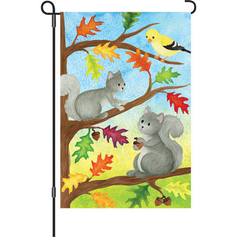 12 in. Autumn Animal Garden Flag - Squirrel Friends