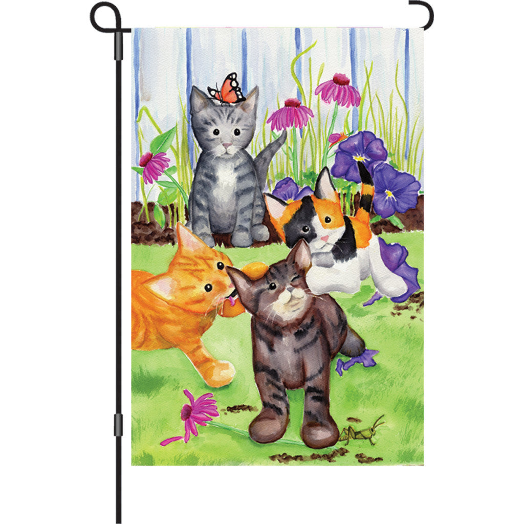 12 in. Cat Garden Flag - Kitten Flowerbed
