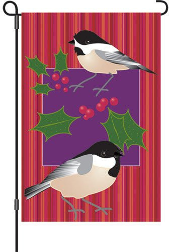 12 in. Winter Snow Bird Garden Flag - Holiday Chickadees