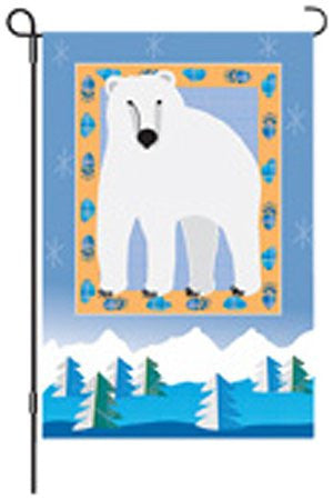 12 in. Winter Holiday Garden Flag - Polar Bear Mountain