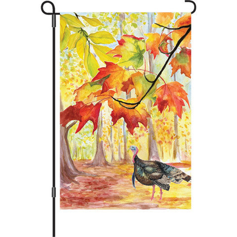 12 in. Thanksgiving Garden Flag - Turkey Hollow