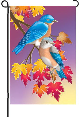 12 in. Autumn Bluebirds Garden Flag - Prelude in Blue