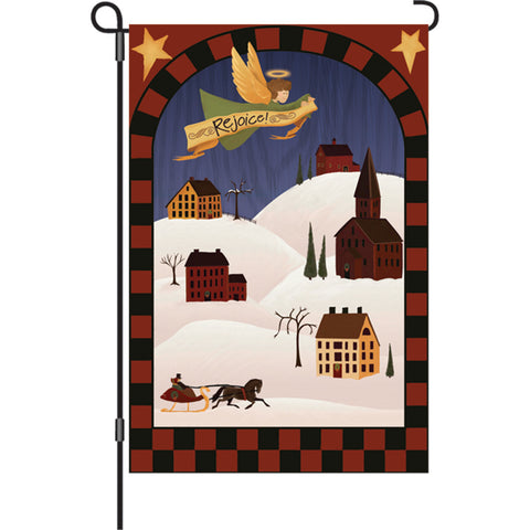 12 in. Christmas Garden Flag - Rejoice