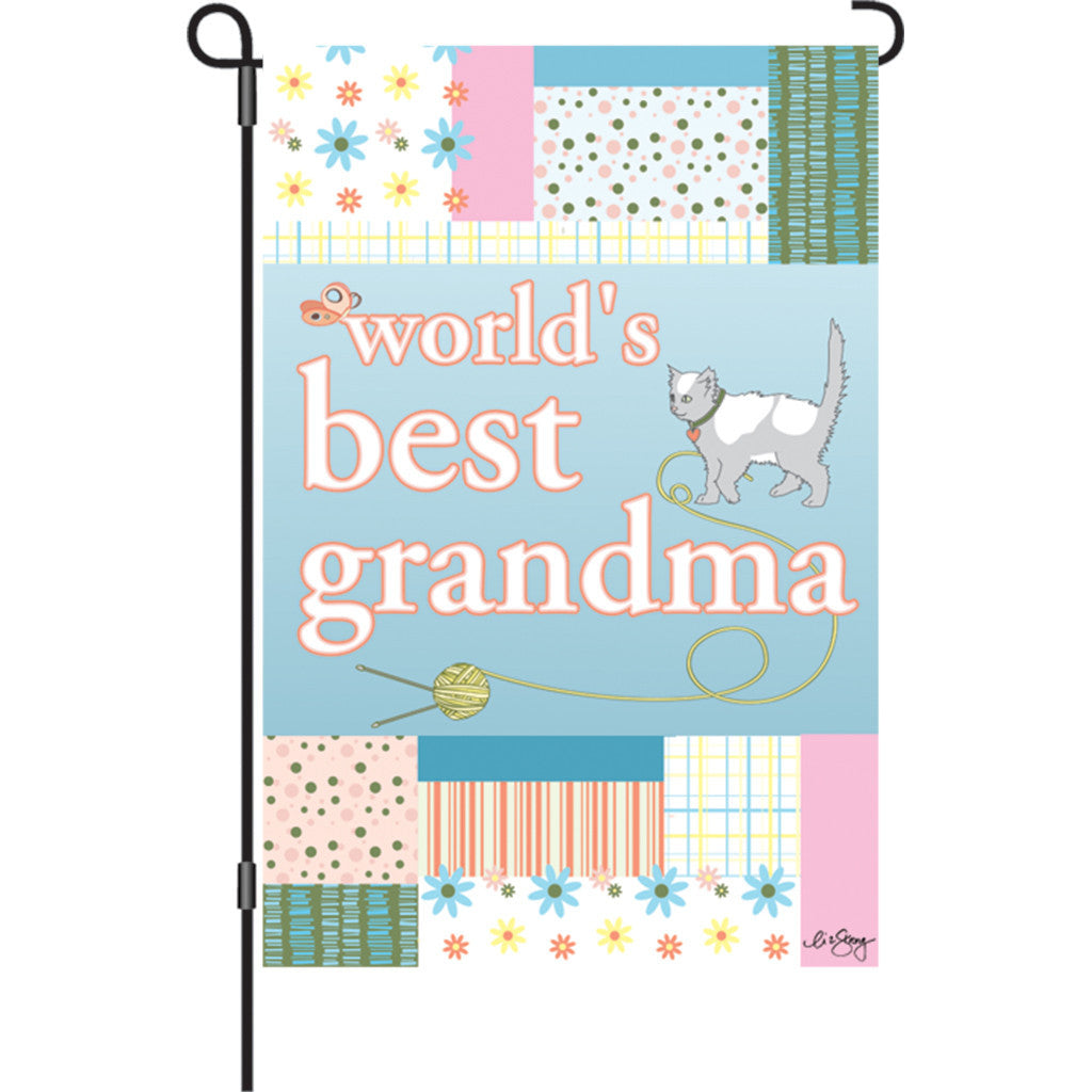 12 in. Cat Garden Flag - World's Best Grandma