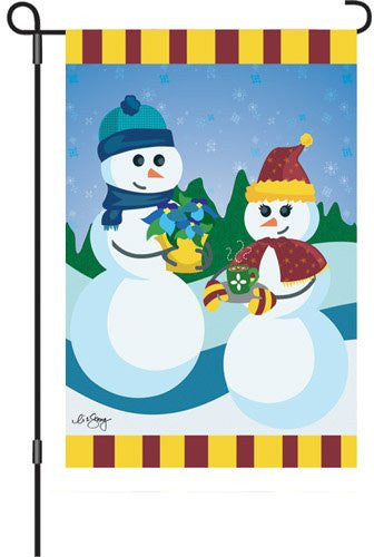 12 in. Winter Garden Flag - Dating on a Snowy Slope