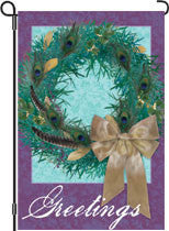 12 in. Christmas Garden Flag - Peacock Wreath
