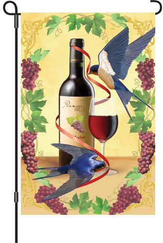 12 in. Wine Garden Flag - Swallows of Capistrano