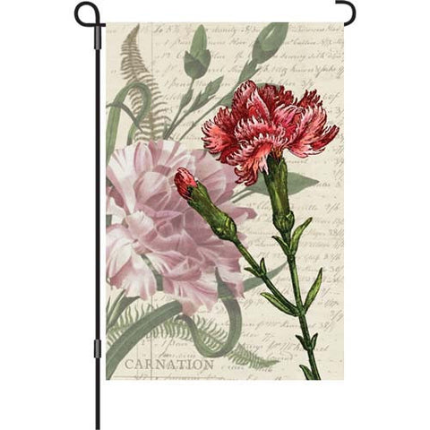 12 in. Vintage Garden Flag - Carnation Celebration