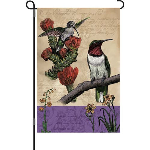 12 in. Vintage Garden Flag - All About Hummingbirds