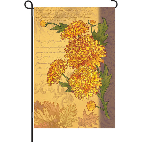 12 in. Vintage Floral Garden Flag - Chrysanthemums