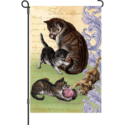 12 in. Vintage Cat Garden Flag - Feline Family