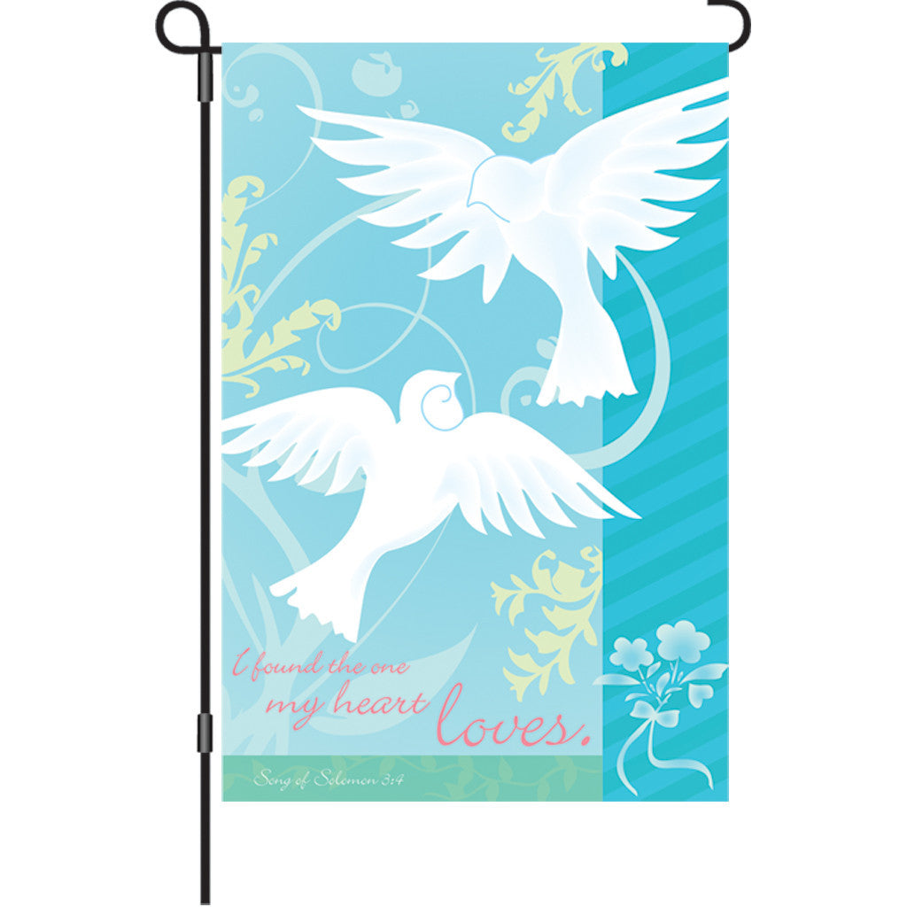 12 in. Christian Dove Garden Flag  - The One I Love