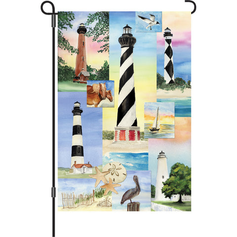 12 in. Coastal Beach Garden Flag - 5 Lighthouses