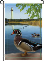 12 in. Coastal Bird Garden Flag - Wood Ducks