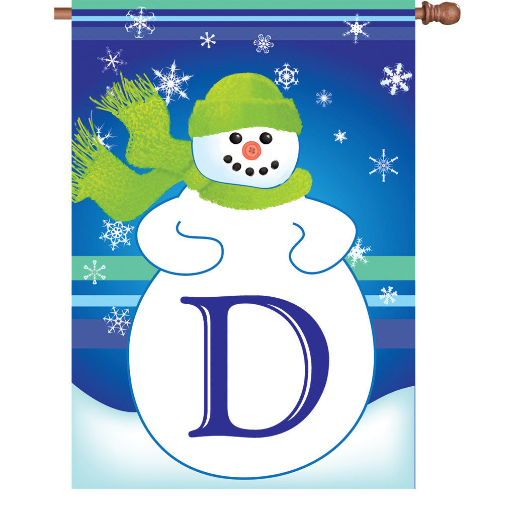 28 in. Monogrammed House Flag - Winter Monogram - Letter D