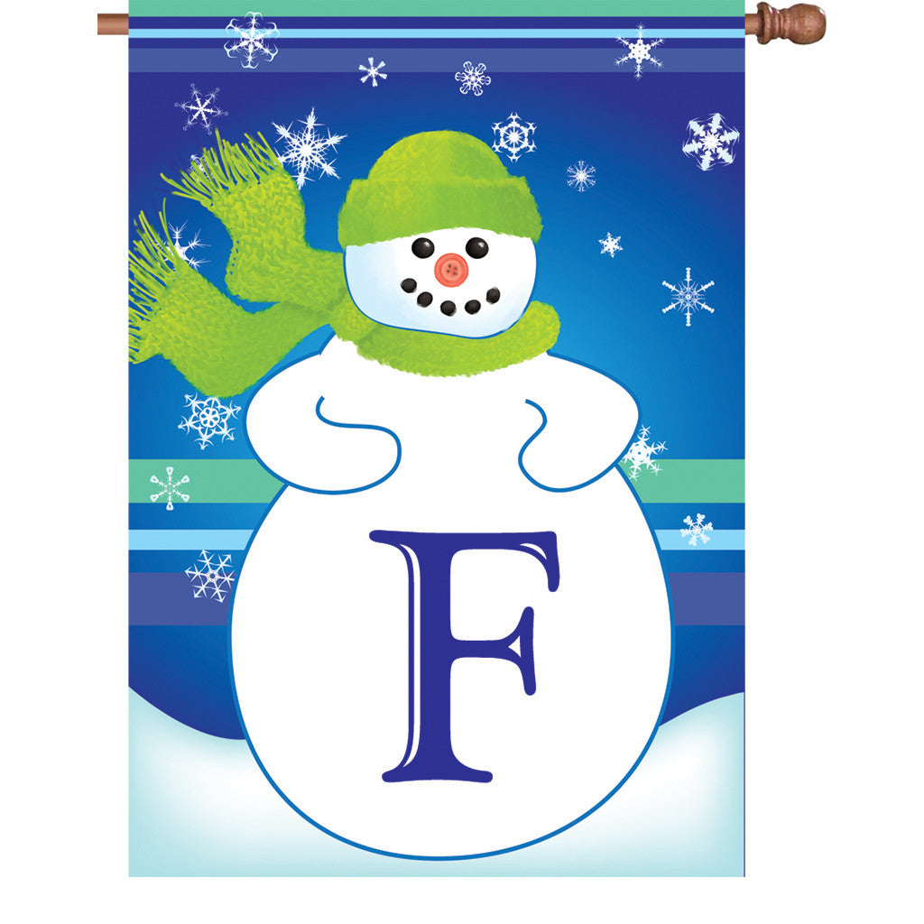 28 in. Monogrammed House Flag - Winter Monogram - Letter F