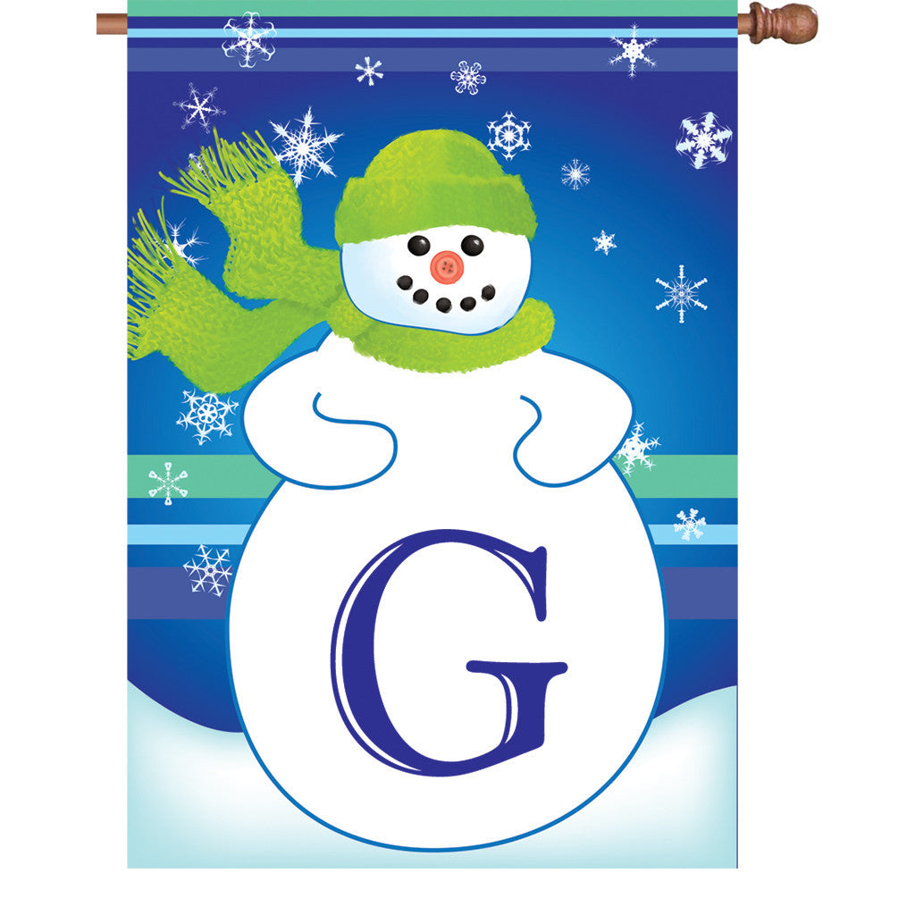 28 in. Monogrammed House Flag - Winter Monogram - Letter G
