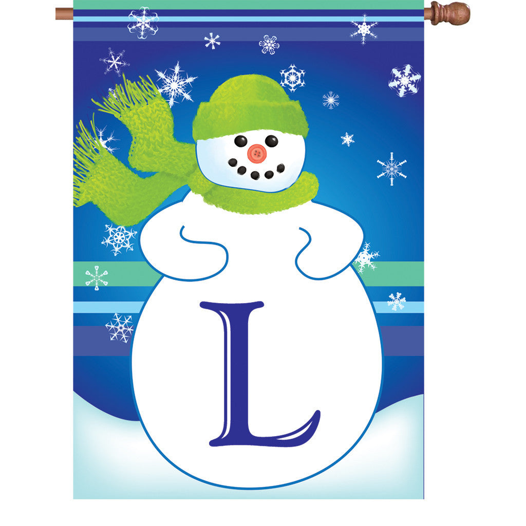 28 in. Monogrammed House Flag - Winter Monogram - Letter L