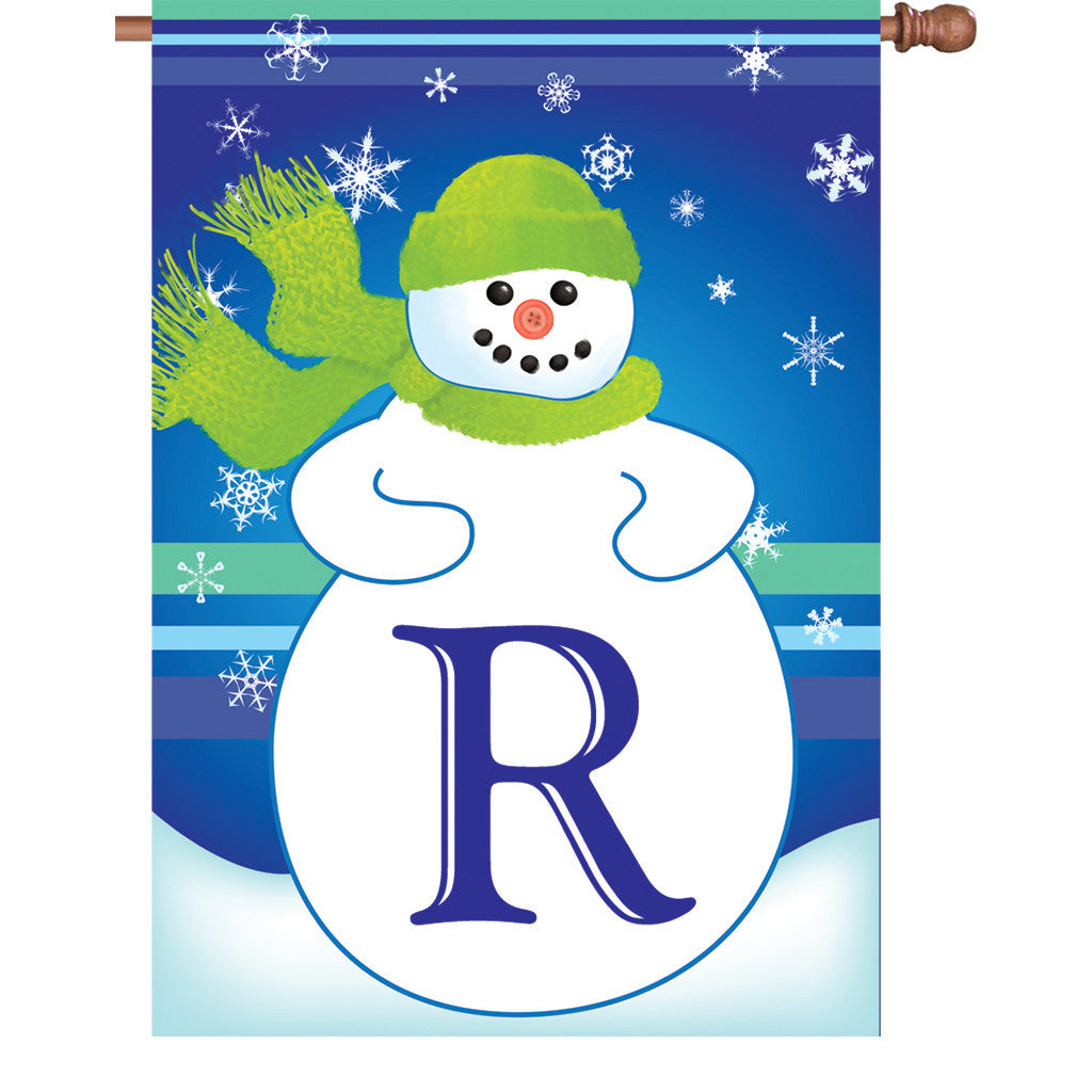 28 in. Monogrammed House Flag - Winter Monogram - Letter R