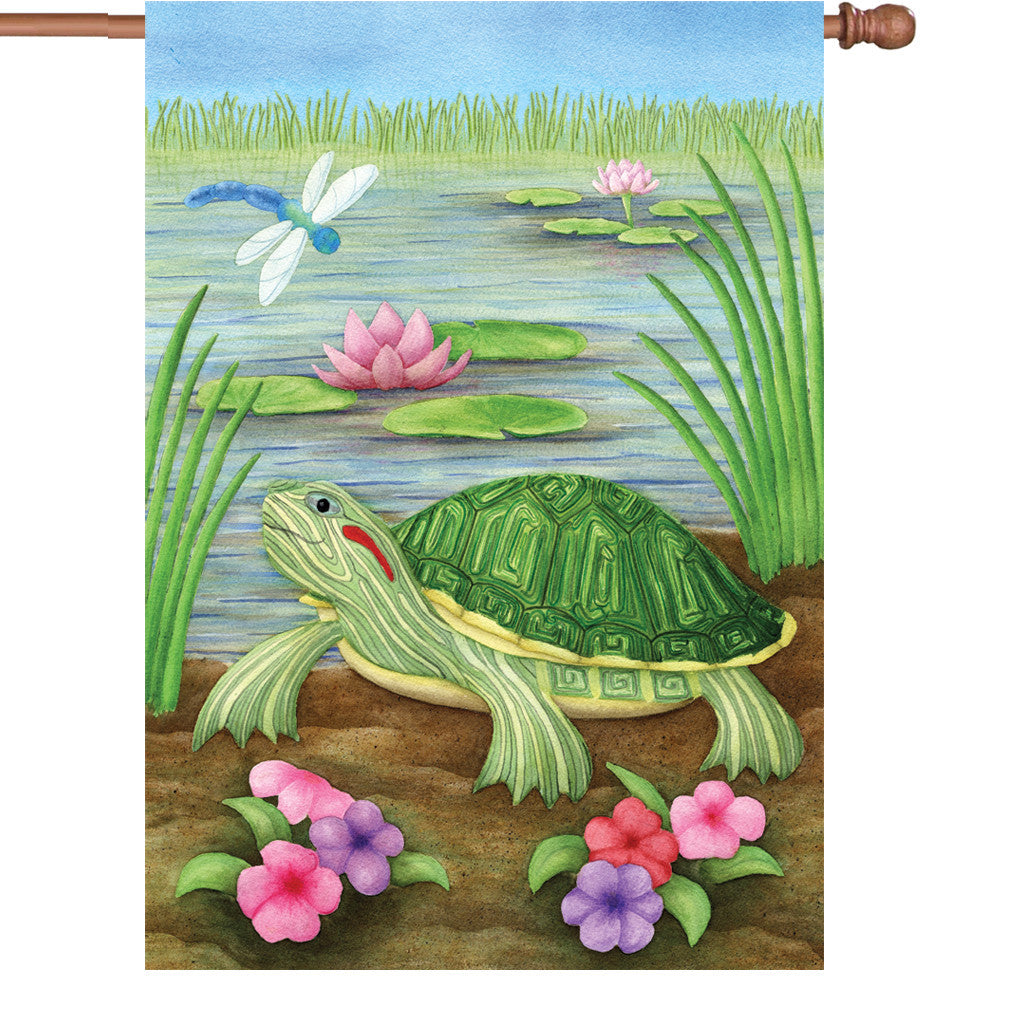 28 in. Lilly Pond House Flag - Turtle Pond