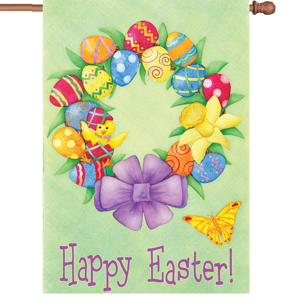 28 in. Easter House Flag - Happy Easter Wreath
