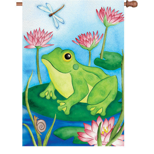 28 in. Lilly Pond House Flag - Lotus Frog