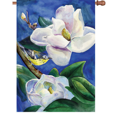 28 in. Bird House Flag - Magnolia Warbler