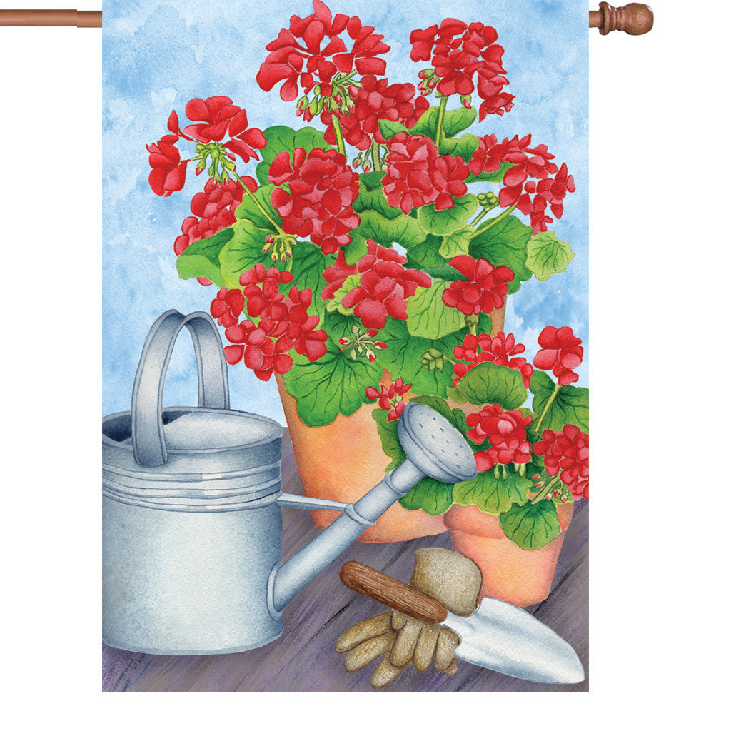 28 in. Flower House Flag - Radiant Geranium