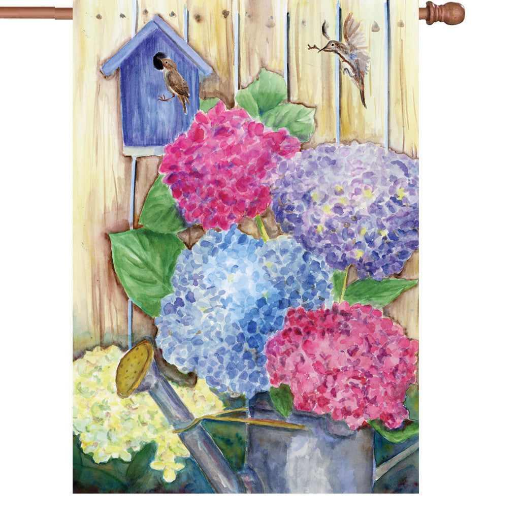 28 in. Flower House Flag - Colorful Hydrangeas