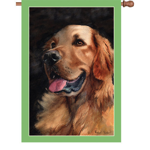 28 in. Golden Retriever Dog House Flag - Golden Friend