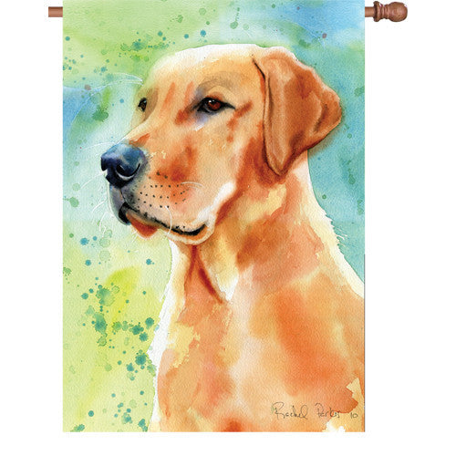 28 in. Golden Retriever Dog House Flag - Heart of Gold