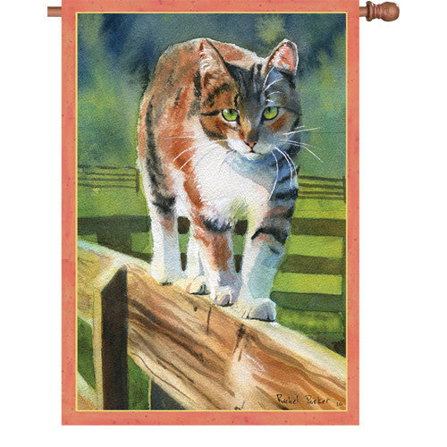 28 in. Cat House Flag - On the Fence