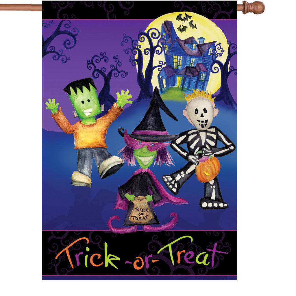 28 in. Halloween House Flag - Trick-or-Treater Monsters
