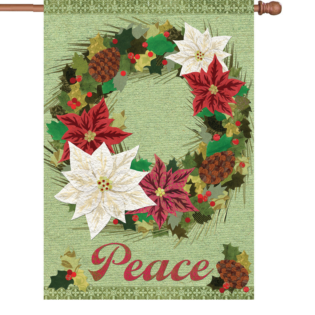 28 in. Christmas House Flag - Poinsettia Wreath