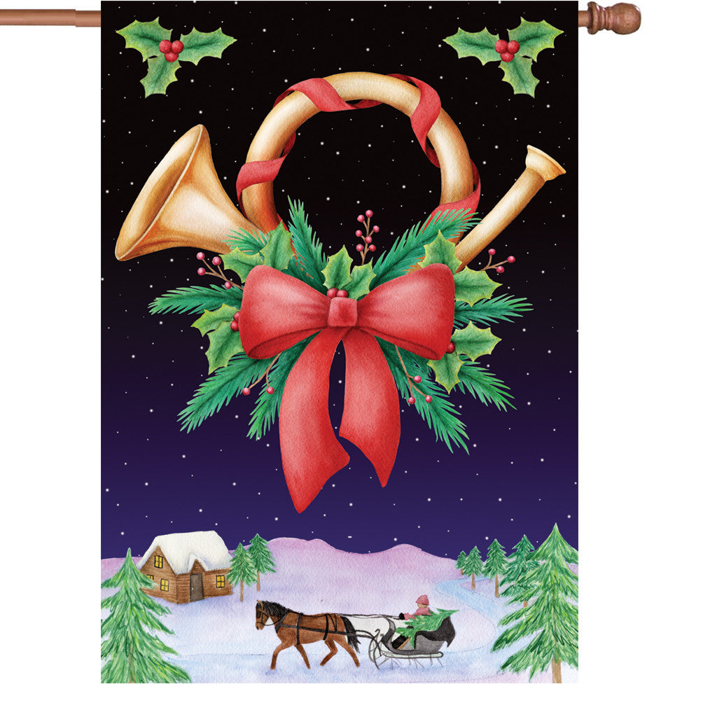 28 in. Christmas House Flag - Holiday Horn