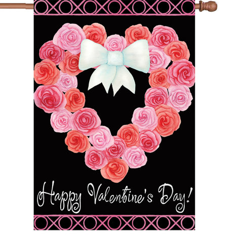 28 in. Valentine's Day House Flag - Valentine Wreath