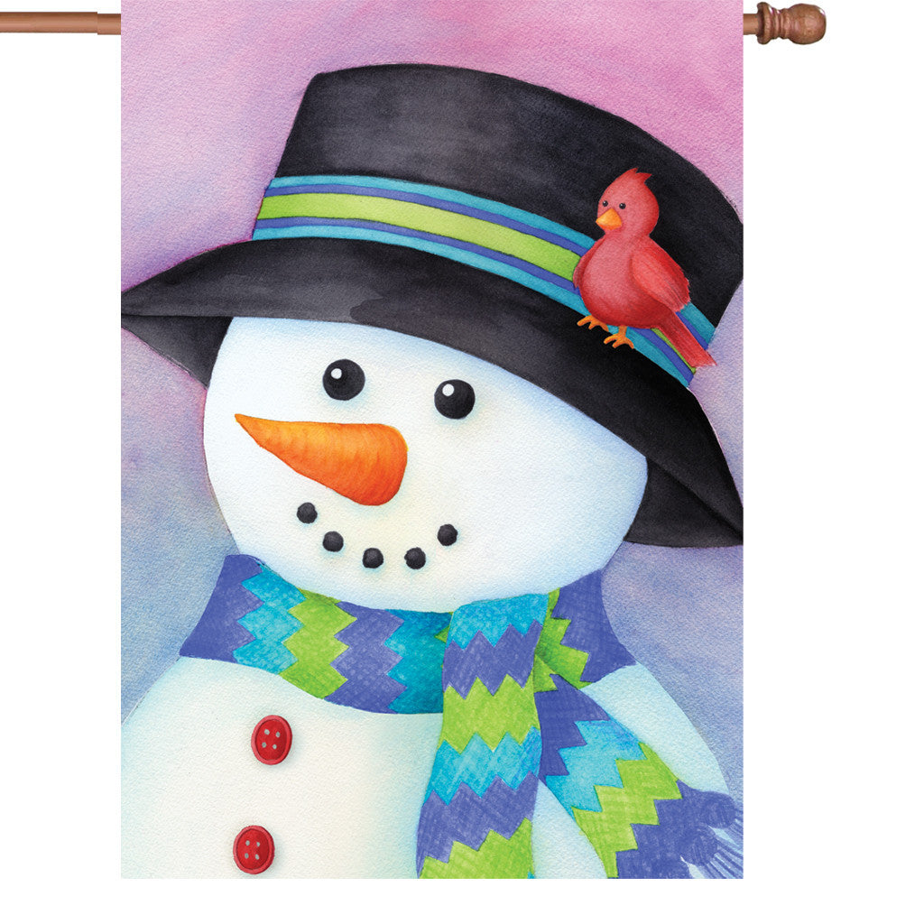 28 in. Christmas House Flag - Friendly Snowman