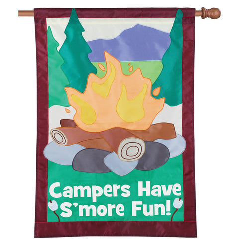28 in. Camping House Flag - S'More Fun