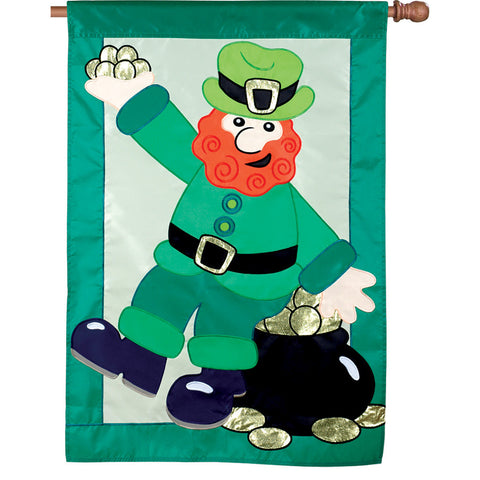 28 in. St. Patrick's Day House Flag - Pot of Gold