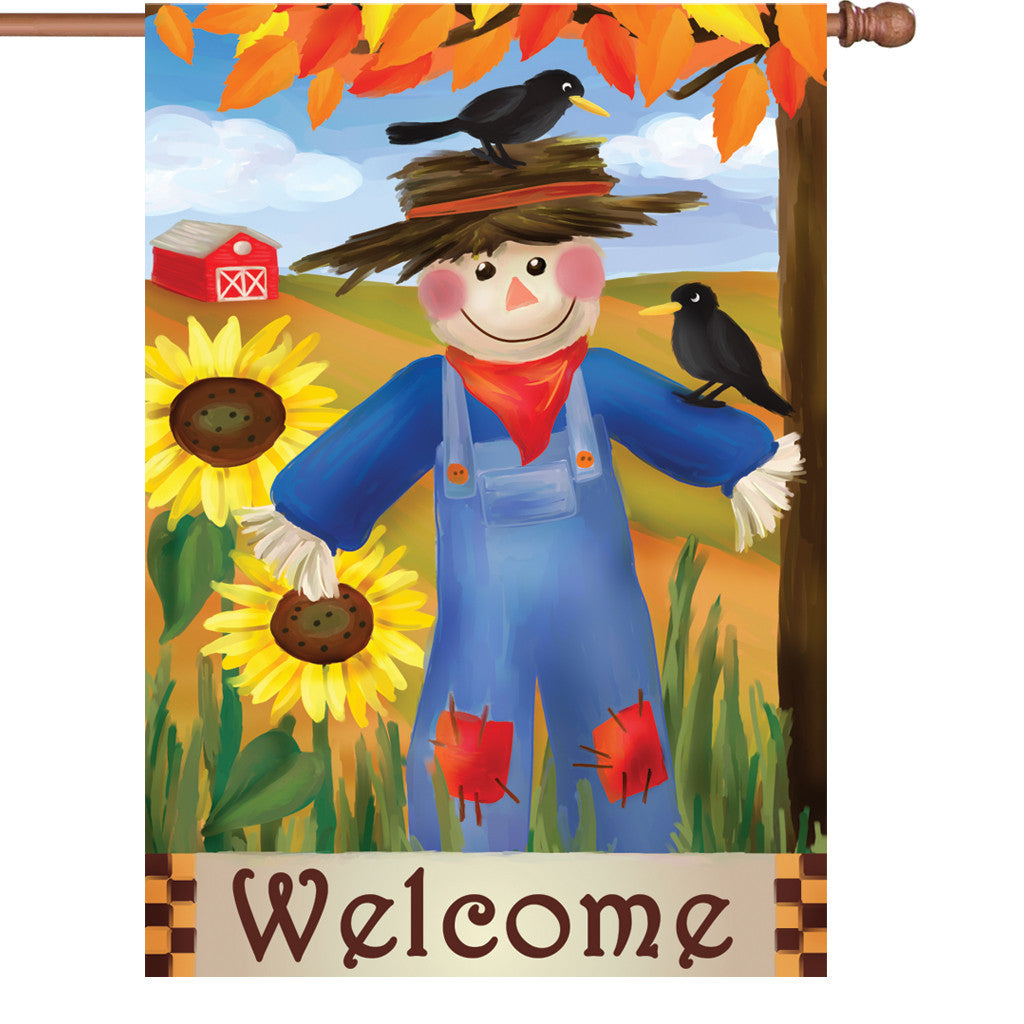28 in. Thanksgiving House Flag - Harvest Scarecrow