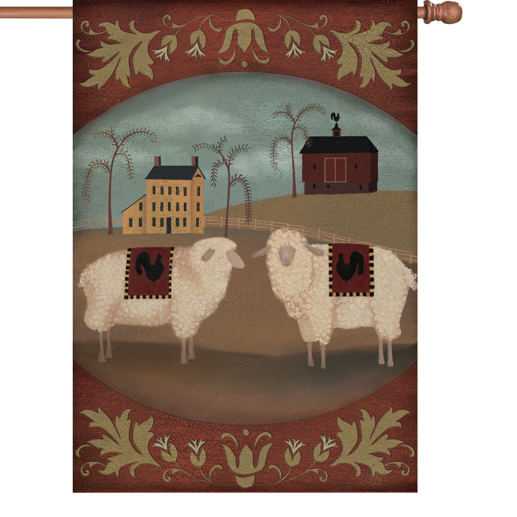 28 in. Country Farm House Flag - Country Homestead