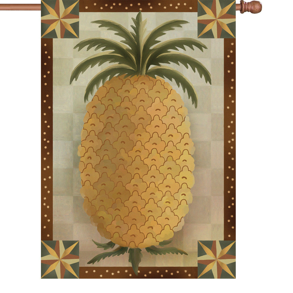 28 in. Country House Flag - Primitive Pineapple