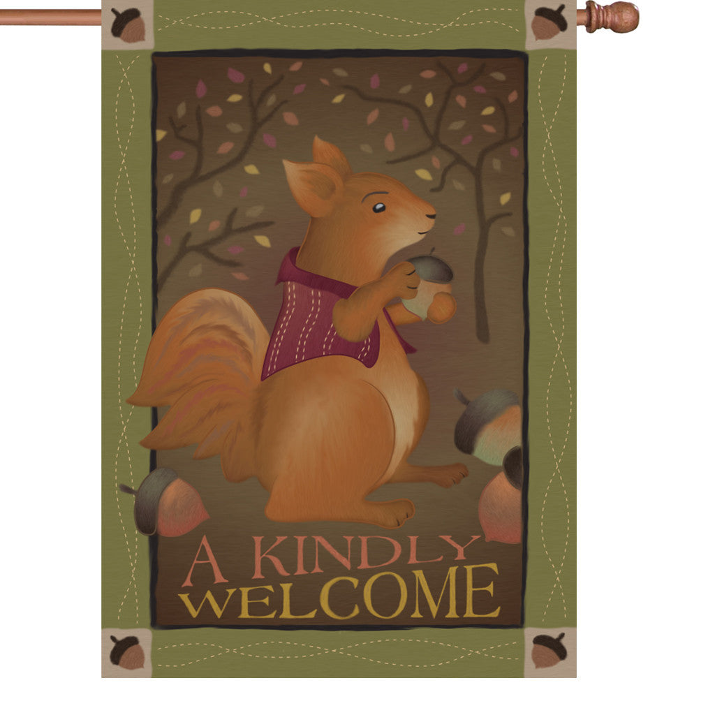 28 in. Country House Flag - A Kindly Welcome