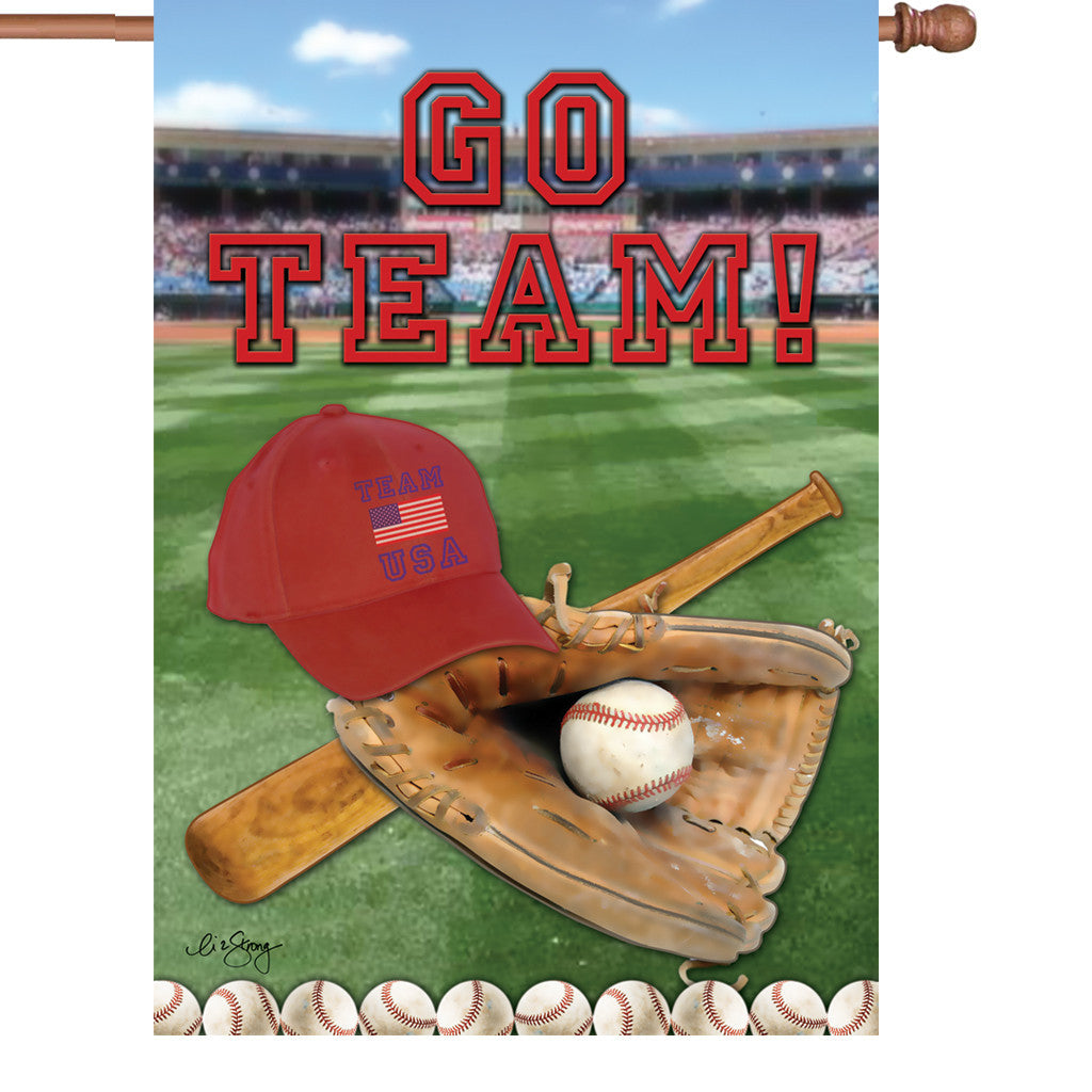 28 in. Baseball House Flag  - America's Pastime