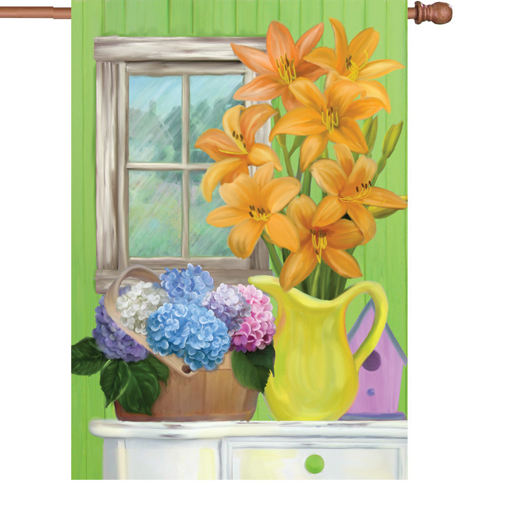 28 in. Springtime Floral House Flag  - Summer Flowers