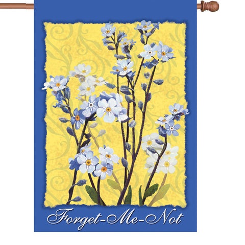 28 in. Forget Me Not Flowers House Flag  - Alaska Wild Flowers