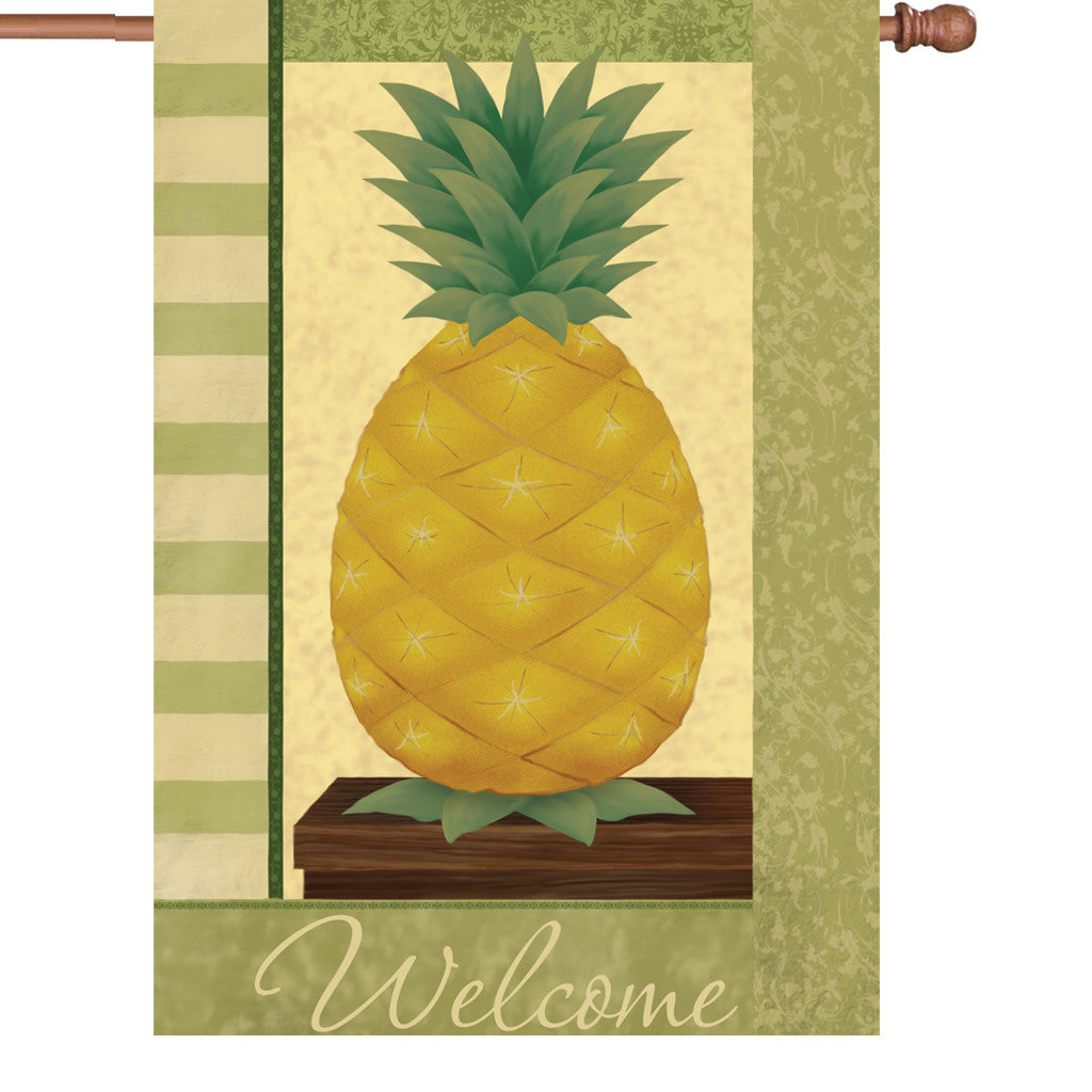 28 in. Vintage House Flag  - Pineapple Delight